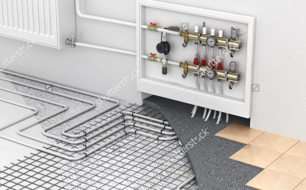 stock-photo-underfloor-heating-with-collector-and-radiator-in-the-room-concept-of-technology-heating-the-319733048